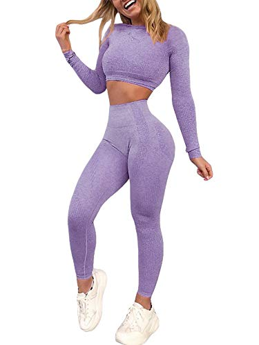 YOFIT Women 2 Piece Yoga Fitness Clothes Purple Exercise Sportswear Anti Cellulite Slimming Booty Sport Pants with Yoga Gym Crop Top