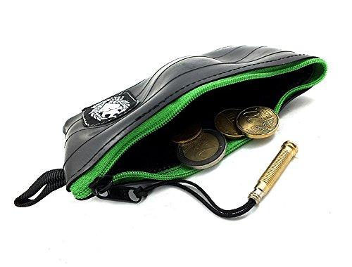 KLEIN Geldbeutel in vielen Farben | Kleiner Geldbeutel Herren | Hergestellt aus Recycelten Fahrradschlauch | Super Weich + Extrem Langlebig (ApfelGrün/Apple Green, Muster: Flicken)