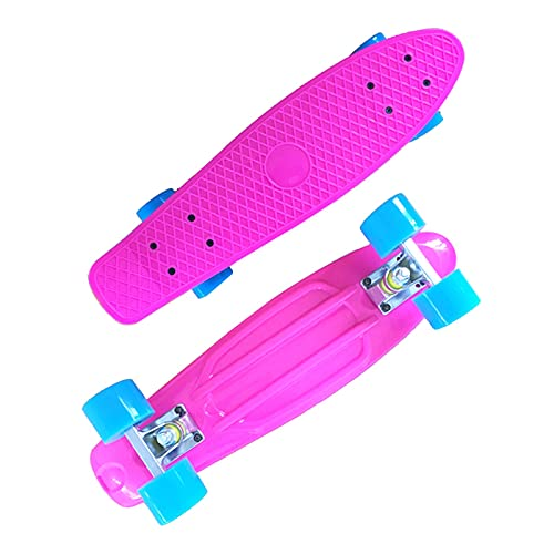 QILIYING Monopatín, monopatín Longboard Mini Crui-ser Skateboard 22 Pulgadas de Peces Scooter niños PÁGINAS Tablero de Longboard Tablero de Skate Impreso Completo by (Color : Pink)