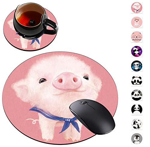 Round Mouse Pad and Coaster Set, Cute Pig Mousepad, Non-Slip Rubber Base Gaming Mouse Pads for Working Or Game