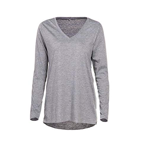MODECRUSH Womens shirt met lange mouwen V-hals trui met rits Loose Blouse trui tops