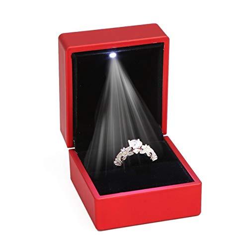 ZADAWERK® Ringbox - mit LED - Rot - Schmuck, Hochzeit, Verlobung, Heiratsantrag