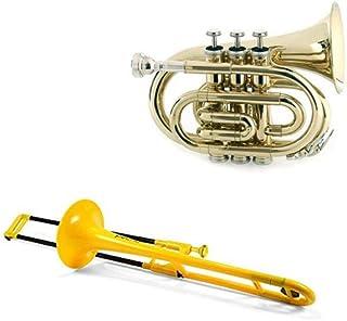 Brass Pack Pro - pBone PBONE1B Jiggs Plastic Trombone, Yellow + Bonus Band Directors Choice Pocket Trumpet