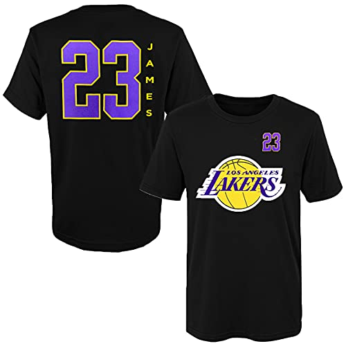 Outerstuff Lebron James Los Angeles Lakers #23 Youth Vertical Player Nombre y Número Camiseta Negro, Negro