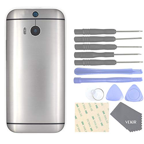 VEKIR Metal Rear Back Battery Case+Rear Camera Glass Lens +Volume Button Replacement Compatible with HTC One M8 dual SIM(Gray)