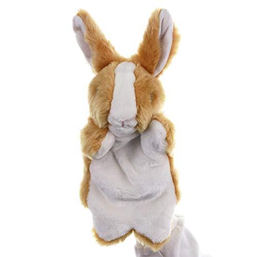 Toyvian Marioneta de mano de conejo, juguete de peluche para Pascua, fantasía, como si juegas calcetines, contar historias (marrón)