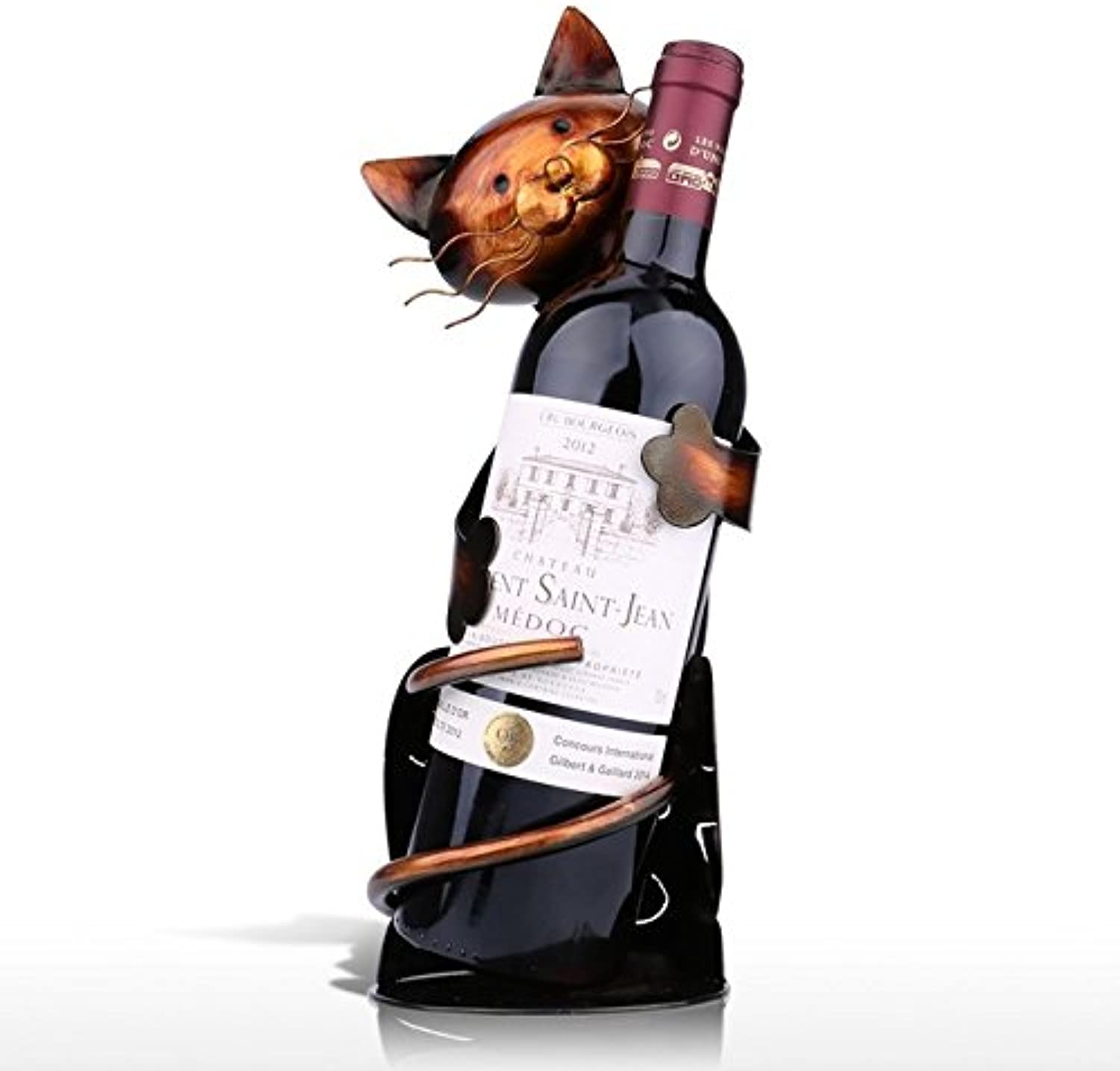 TOOARTS Brown Cat Shaped Wine Holder Delicate Wine Shelf Metal Sculpture Practical Sculpture Home Bar Decoration Interior Crafts   as Picture