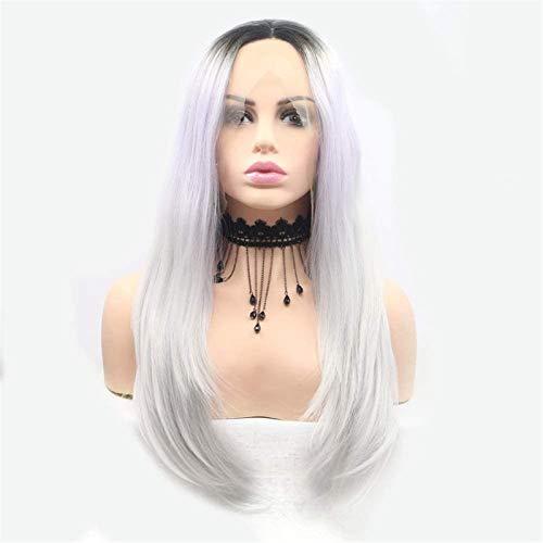 Espejo Hermosa Peluca Larga Ondulada Pelucas Pelucas Ladies Mano de Encaje Europeo Y Wig Set Wig Set White GRY GRY Pelo Largo Pelucas de Fiesta