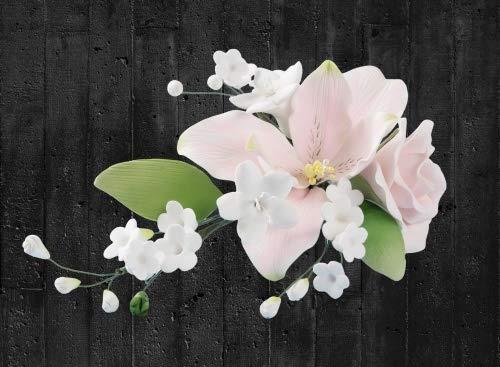 Tortendekoration Hochzeit Zuckerblumenbouquet rosa weiß Rosen-Lilien