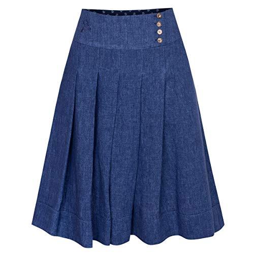 Hammerschmid Damen Trachten-Mode Rock Siegburg in Blau 60 cm traditionell, Größe:36, Farbe:Blau