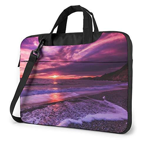 Bolso Bandolera Impermeable para Ordenador portátil, Funda con Estampado de Puesta de Sol en la Playa Rosa, Funda para Ordenador portátil de 14 Pulgadas, maletín para Ordenador portátil