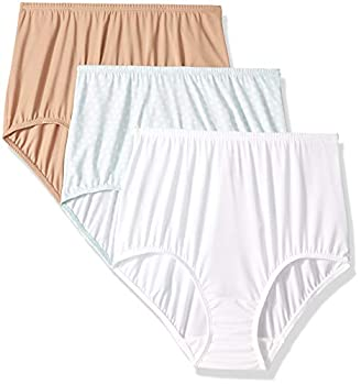 Olga Women s Without A Stitch 3 Pack Brief Toasted Almond/White/Starlight Ditsy Print XXXL