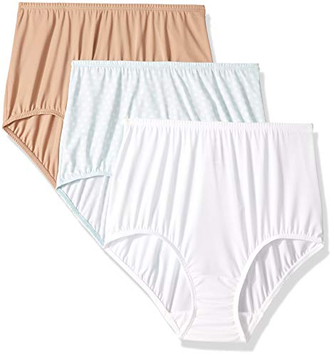 Olga Women's Without A Stitch 3 Pack Brief, Toasted Almond/White/Starlight Ditsy Print, M