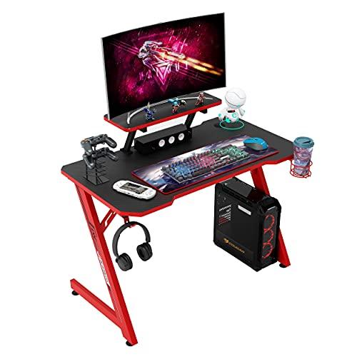 IntimaTe WM Heart Gaming Tisch 110cm, Ergonomischer Computertisch, Schreibtisch mit Tischplatte aus Kohlefaser, Drehbarer Headsethalter, Griffhalter und Getränkehalter, Schwarz und Rot