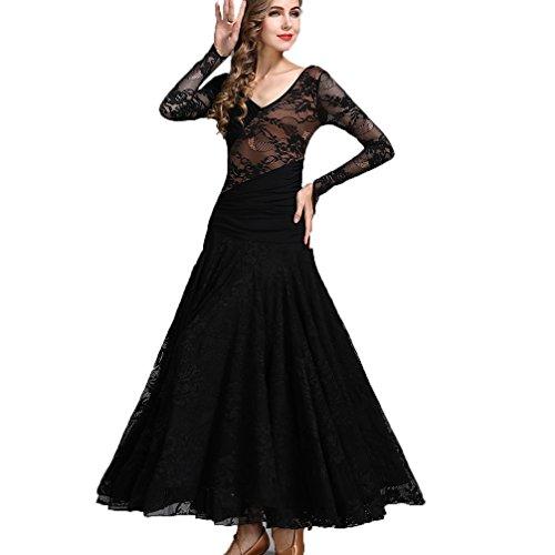 Walzer Tanzkleidung für Damen Tango-Übungskleid V-Ausschnitt Spitze/Lange Ärmel Moderner Tanz/Standard Ballsaal Tanzkleider, M