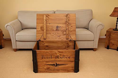 Uncle Joe´s Truhe Pearl Harbor Couchtisch Truhentisch im Vintage Shabby chic Style aus Massiv-Holz in braun mit Stauraum und Deckel Holzkiste Beistelltisch Landhaus Wohnzimmertisch Holztisch nussbaum - 5