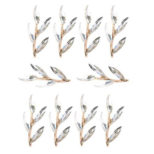 UBL PULABO10 piezas de aleación hojas rama Rhinestone Flatback botones joyería accesorios accesorios para bricolaje artesanía decoración boda 38mm