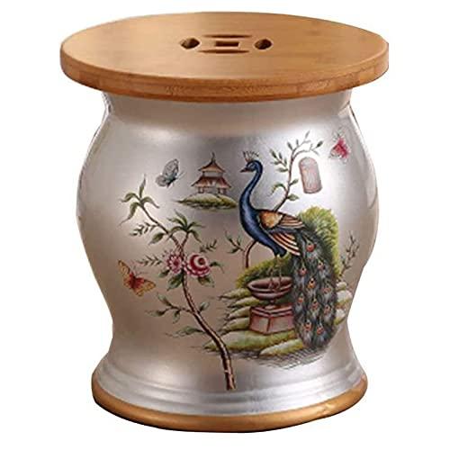 VERDELZ Poggiapiedi Imbottito Poggiapiedi Cambia Scarpa Sgabello Sgabello Uccello Legno di bambù Sgabello Tamburo in Ceramica Arredamento per la casa Molo in Porcellana