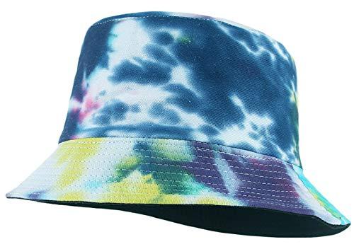 Cloudkids Sombrero Pescador Mujer Hombre Algodón Estampado Tie-Dye Plegable Bob Sombrero de Sol Unisex 58cm Vintage Gorra Viajar Casuel Verano (Azul)