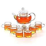 27 oz Glass Filtering Tea Maker Teapot with a Warmer and 6 Tea Cups CJ-BS808A
