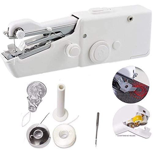All-Purpose Máquina de Coser de Mano, Kit de Hilo de Coser, Mini máquina de Coser eléctrica portátil Pequeña Puntada inalámbrica rápida y práctica para Principiantes
