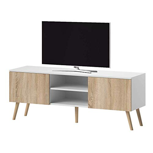 Selsey VEROZIA LIGNNUM - Mueble TV Estilo Nordico/Mesa para TV/Mueble para Salon Comedor (Blanco Mate/Marron Claro)