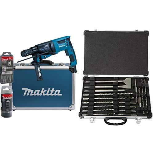 Makita Kombihammer für SDS-Plus 26 mm im Alukoffer, HR2631FT13 + Makita D-42444 SDS+ Bohrer/Meissel-Set 17tlg, 1 W, 1 V