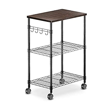 alvorog 3 Tier Kitchen Microwave Cart on Wheels Rolling Bakers Rack Mobile Metal Storage Organizer with Adjustable Shelves Utility Cart with Hooks by alvorog