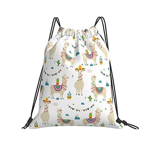 QUEMIN Mochila con cordón Mochila Cute Cartoon Llama Alpaca Gym Mochila para Equipo de Senderismo Entrenamiento de natación Yoga Gym Ejercicio al Aire Libre