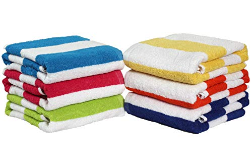 """100% Cotton Bath Towel, Pack of 6, Cabana Stripe Beach Towel, Large Pool Towels (30' x 60""""), Floral with Embroidery Highly Absorbent, Light Weight, Soft and Quick Dry Swim Towelsfor Parties, Guests"""
