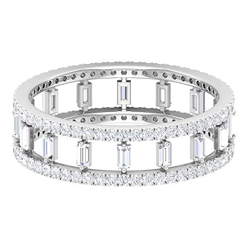0.84 Carat Double Band Wide SGL Certified Diamond Ring, HI-SI Baguette Diamond Wedding Full Eternity Ring, Stackable Anniversary Matching Promise Ring, 14K White Gold, Size:UK Z+2
