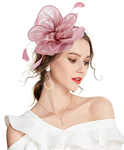 Z&X Kentucky Derby tocado tocado para mujer diadema clip de pelo flor pluma té fiesta sombrero nupcial - Rosa - Talla única