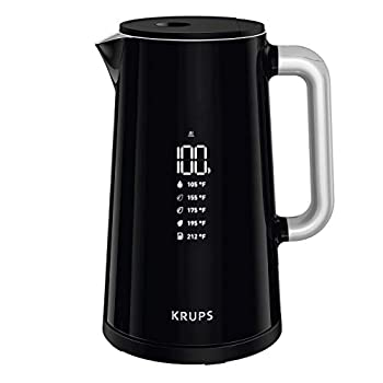 KRUPS BW801852 Smart Temp Digital Kettle Full Stainless Interior and Safety Off 1.7-Liter Black  Renewed