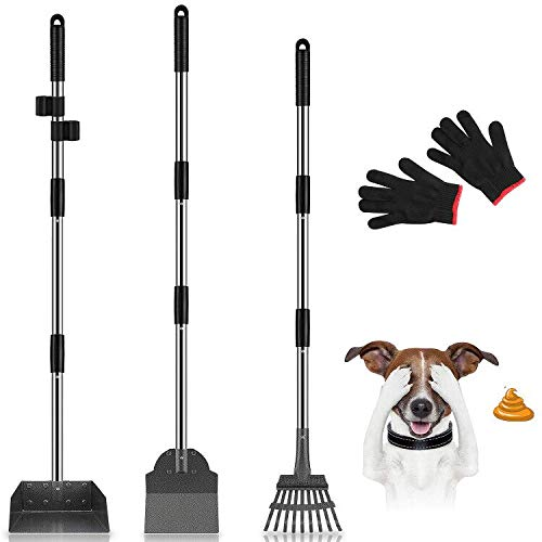 MOICO Dog Pooper Scooper, 3 Pack Upgraded Adjustable Long Handle Metal Tray, Rake and Spade Poop Scoop, Pet Waste Removal Pooper Scooper for Large Medium Small Dogs and Pets