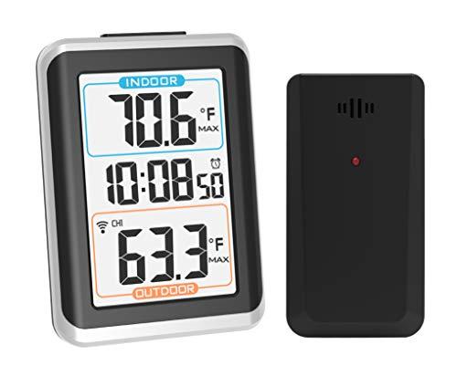 Termómetro digital para interiores Geevon, medidor de temperatura inalámbrico con reloj despertador, 1 sensor remoto, luz de fondo, valor mínimo / máximo, de mesa y de pared para oficina en casa
