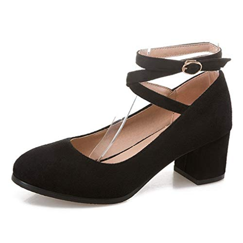 CYBLING Women's Ankle Strap Mary Jane Pumps Comfortable Round Toe Chunky Block Heels Shoes Black