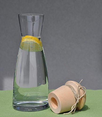 JOWE Wasserkaraffe 1L Ypsilon inkl. handgedrechseltem Zirben Zapfen