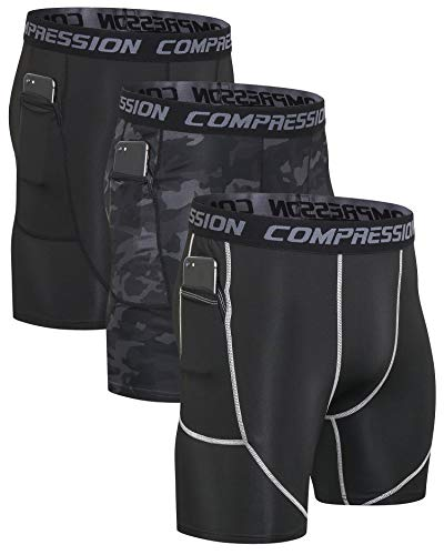 Milin Naco Men's Compression Shorts with Pocket, Cool Dry Baselayer Sports Tights, Pack of 3 Sport:Black/Compression Camo Black/Stretchy Black