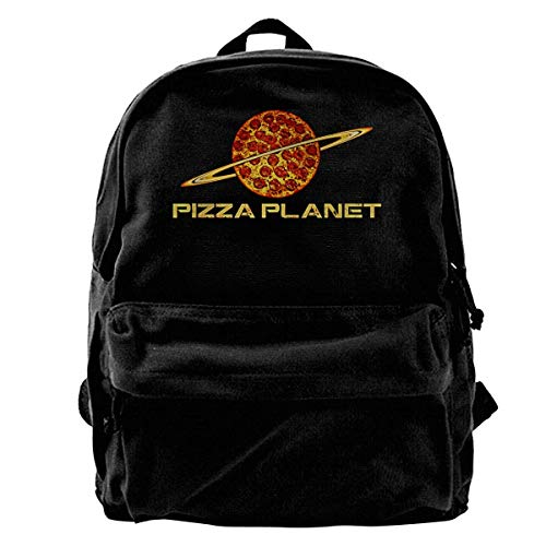 Yuanmeiju Mochila de Lona para portátil Mochila Escolar Impermeable Pizza Toy Planet Mochila Ligera antirrobo para Viajes al Aire Libre Mochila para Estudiantes universitarios Se