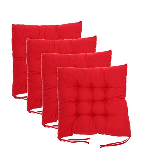 Chair Pads Solid Square 4Pack, Chair Cushion With Ties, 16' X 16', Seat Cushion Gripper Jumbo Saturn Rocking Thicken Memory Foam Pads, Ultimate Comfort And Premium Soft Round