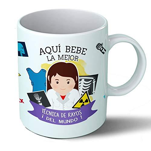 Planetacase Taza Desayuno Aquí Bebe La Mejor Tecnica De Rayos del Mundo Regalo Original Ceramica 330 Ml