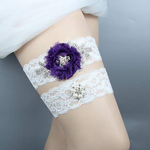 Charm4you Elegantes Strumpfband für die Braut,Braut Hochzeit Accessoires Spitze Strass Strumpfband-Lila 5pcs_L,Brautstrumpfband Stretch Strumpfband