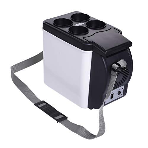 Yissma Draagbare thermo-elektrische koelbox, 6 liter, mini-koelkast, 12 V (type voertuig) of 220 V, 12 V (huishoudautotype) voor auto, vrachtwagen, boot en stopcontact