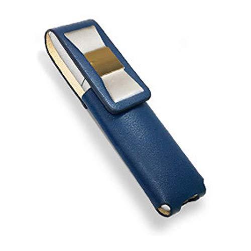 IQOS 3 MULTI 専用 アイコス3 リボン 本革 マルチ ケース (ブルー/ホワイトリボン) iQOSケース シンプル 無地 保護 カバー 収納 カバー 電子たばこ 革
