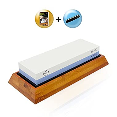 Knife Sharpening Stone Kit - Japanese Whetstone Set 2 Sided 1000/6000 - Best Professional Knife Sharpener w/ Non-Slip Silicone Lined Bamboo Base, Angle Guide, Video Training - By Basic Item