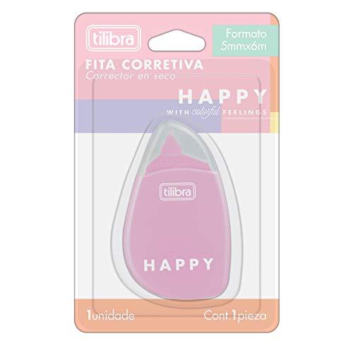Corretivo em Fita 5mmx6m, Tilibra, 315371, Happy, Cores Sortidas