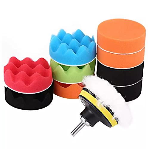 MOMOTOU 7/12 piezas de esponja de lana de 7,62 cm Kit de almohadillas de depilación con adaptador de taladro para pulidor de coche, herramientas compuestas, accesorio (3 pulgadas 12 piezas)