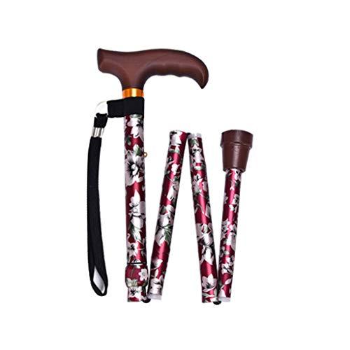 Xiaoli T-Mango Sticks bastón telescópico Plegable Que pasear aleación de Aluminio muletas Trekking de caña de Senderismo Bastones de Trekking for la Anciano (Color : Red)