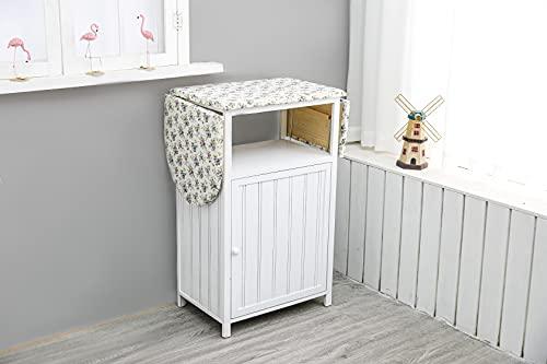 Avior Home Bügeltisch mit Regal, platzsparender Nähschrank Aufbewahrungsregal, Bügelbrett Schrank weiß (ohne Rädern)