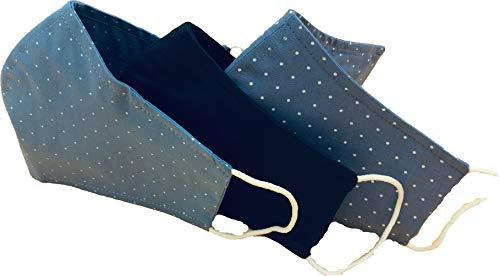 3- Set Fashion Masken, bleu Tupfen und Marine Uni, wiederverwendbar,Baumwolle Nasen-und Mundschutz, Baumwolle, waschbar 95001.16